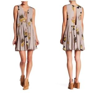 FREE PEOPLE FLORAL TAUPE TAN FALL DRESS XS